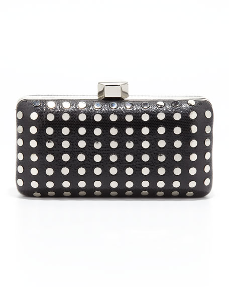 Studded Leather Minaudiere, Black