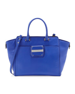 Milly Colby Leather Tote Bag, Blue