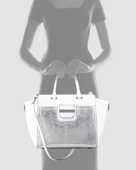 Colby Metallic Tote Bag, White