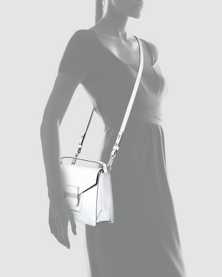 Colby Metallic-Front Crossbody Bag, White