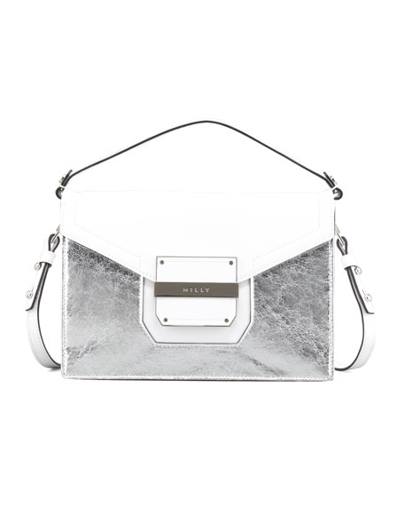 Colby Metallic-Front Crossbody Bag, White