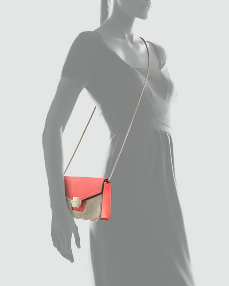 Colby Metallic Mini Shoulder Bag, Fluorescent Coral/Gold