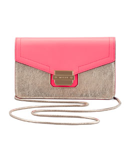 Milly Colby Metallic Mini Shoulder Bag, Fluorescent Coral/Gold