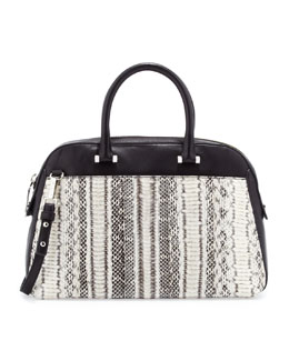 Milly Mercer Snakeskin Medium Satchel Bag, Black/White
