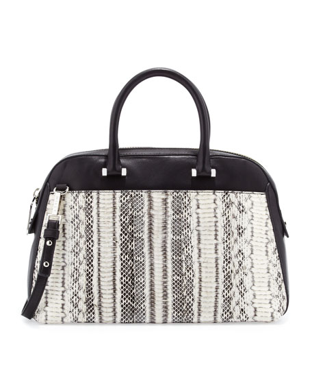 Mercer Snakeskin Satchel Bag, Black/White