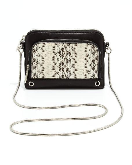 Mercer Snakeskin Mini Shoulder Bag, Black/White