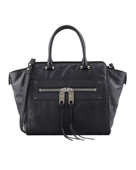 Riley Trapezoidal Goatskin Tote Bag, Black