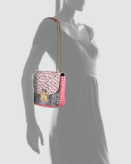Polly Mini Snakeskin Shoulder Bag, Pink/Black/Multi
