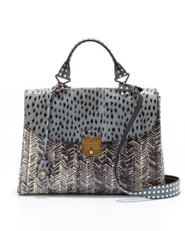 Marc Jacobs 1984 Snakeskin Mixed-Print Satchel Bag, Cloud/Atlantic