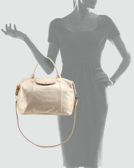 Le Pliage Cuir Metallic Tote Bag, Platinum