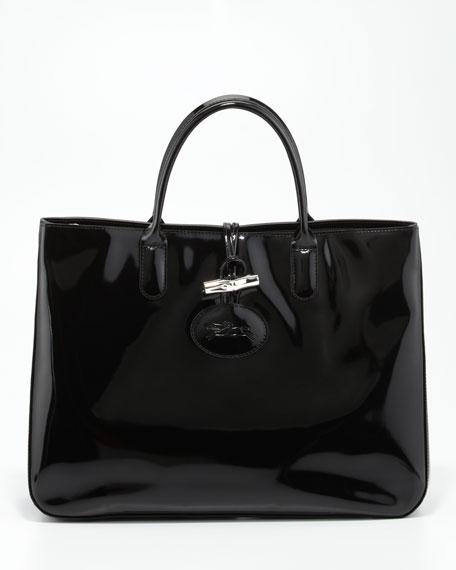Roseau Patent Leather Box Tote Bag, Black