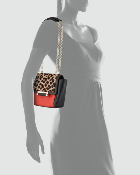 440 Leather & Calf Hair Crossbody Bag, Leopard/Red