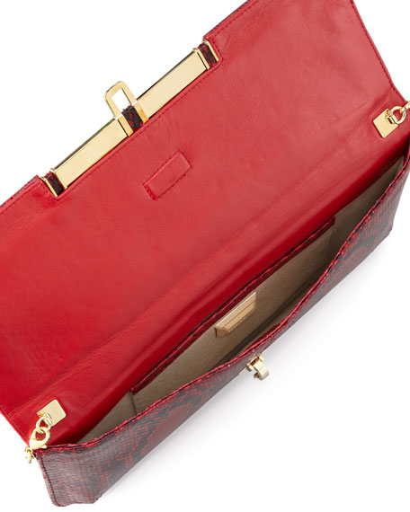Mia East/West Python Clutch Bag, Red