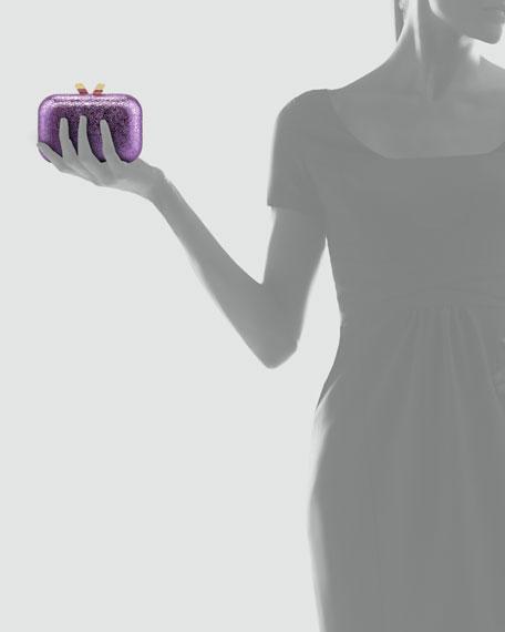 Margo Crinkled Metallic Box Clutch Bag, Purple