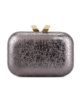 Kotur Margo Crinkled Metallic Box Clutch Bag, Pewter