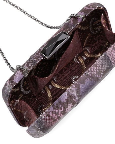 Breen Snakeskin Minaudiere, Purple