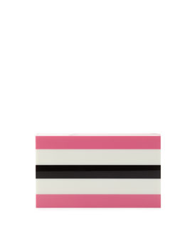 Charlotte Olympia Pandora in Stripes Box Clutch, Pink/Off White