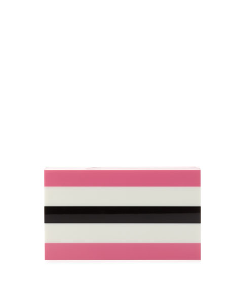 Pandora in Stripes Box Clutch, Pink/Off White