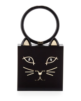 Charlotte Olympia Kitty Square Acrylic Box Clutch, Black