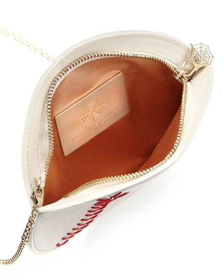 Play Ball! Leather Baseball Crossbody Bag, Off White
