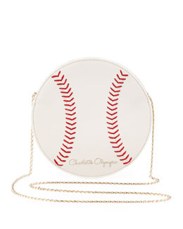 Charlotte Olympia Play Ball! Leather Baseball Crossbody Bag, Off White