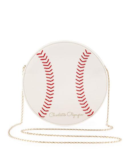 Play Ball! Leather Baseball Crossbody Bag, Off White