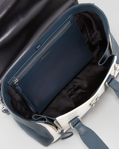 Pashli Medium Satchel Bag, Steel/Black/Off White
