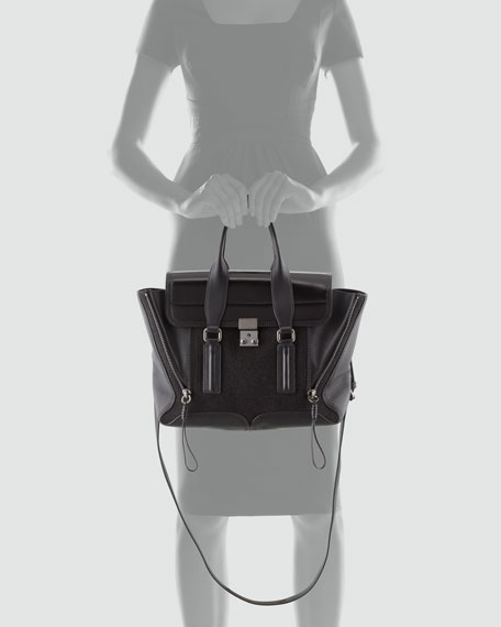 Pashli Medium Glitter Satchel Bag, Black
