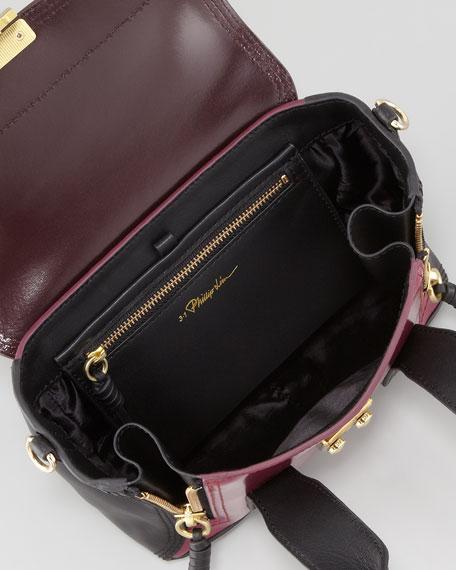 Pashli Mini Leather Satchel Bag, Black/Oxblood