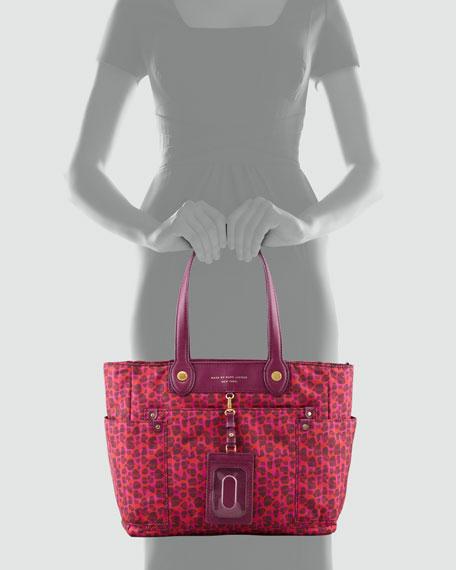 Isa-Print Preppy Nylon Clara Tote Bag, Red/Pink