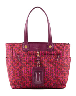 MARC by Marc Jacobs Isa-Print Preppy Nylon Clara Tote Bag, Red/Pink
