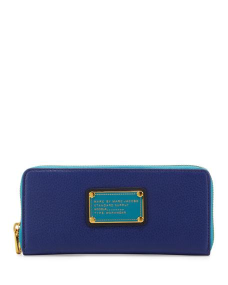 Classic Q Slim Zip Colorblock Wallet, Bright Royal