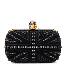Alexander McQueen Crystal Britannia Box Clutch Bag, Black