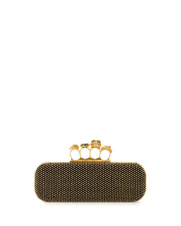 Alexander McQueen Micro-Stud Long Knuckle-Duster Clutch Bag, Black