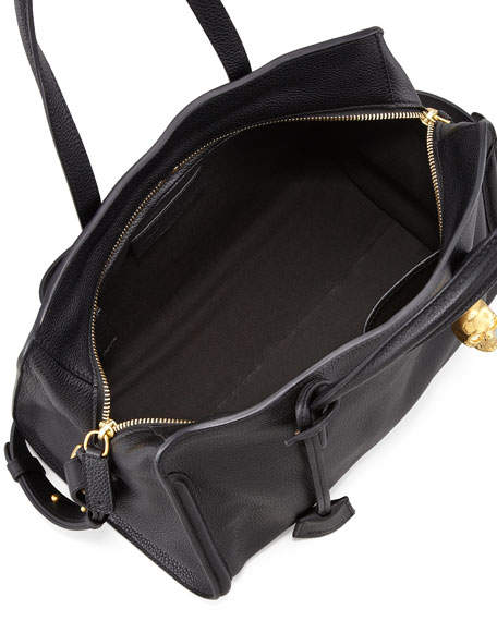 Padlock Zip-Around Tote Bag, Black