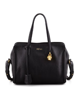 Alexander McQueen Small Padlock Zip-Around Tote Bag, Black
