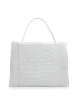 Nancy Gonzalez Large Crocodile Tote Bag, White