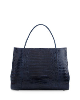 Nancy Gonzalez Two-Compartment Crocodile Tote Bag, Navy