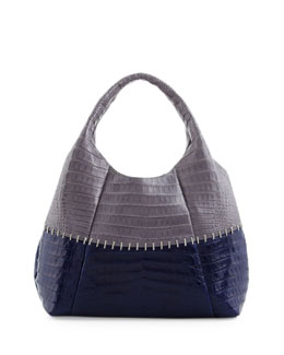 Nancy Gonzalez Two-Tone Stitched Tote Bag, Gray/Navy