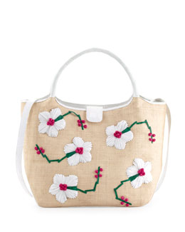 Nancy Gonzalez Crocodile/Straw Flower Tote Bag, White/Pink/Green