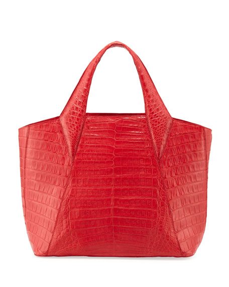 Medium Open Crocodile Tote Bag, Red