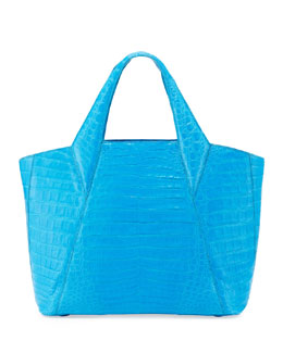 Nancy Gonzalez Medium Open Crocodile Tote Bag, Blue