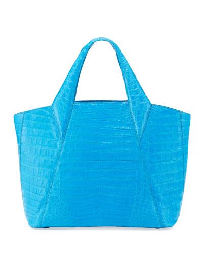 Nancy Gonzalez Medium Open Crocodile Tote Bag, Blue