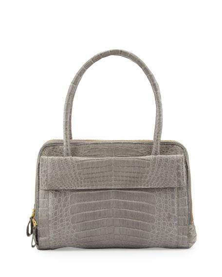 Crocodile Zip Satchel Bag, Gray