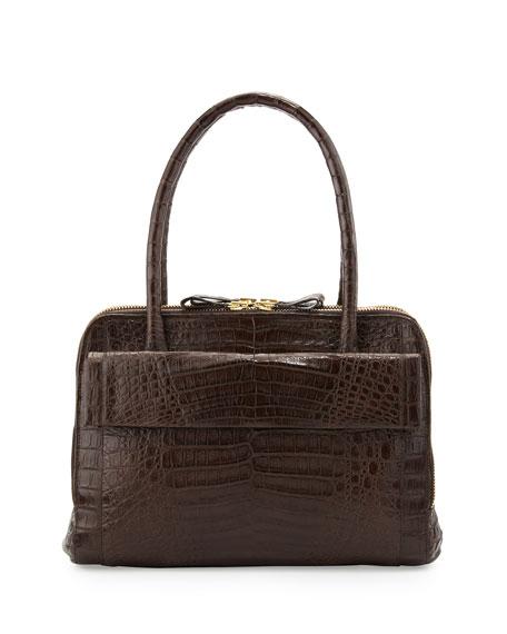 Crocodile Zip Satchel Bag, Brown