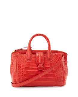 Nancy Gonzalez Medium Crocodile Satchel Bag, Orange
