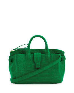 Nancy Gonzalez Medium Crocodile Satchel Bag, Green