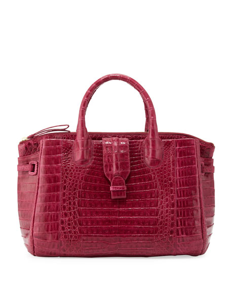 Cristina Medium Center-Zip Crocodile Tote Bag, Pink