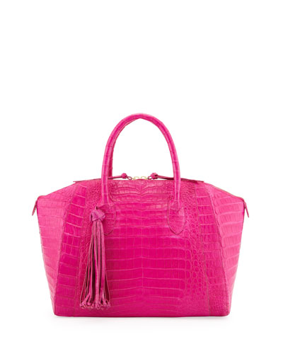 Nancy Gonzalez Medium Crocodile Tassel Dome Satchel Bag, Pink