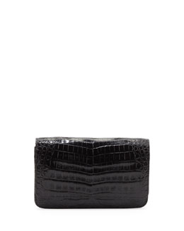 Nancy Gonzalez Crocodile Wallet on a Chain, Black